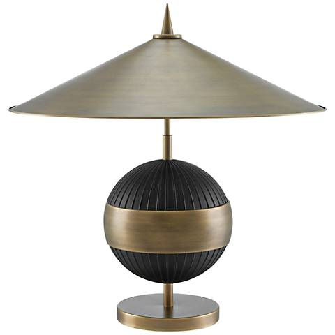 Currey and Company Chatta Antique Brass and Black Table Lamp