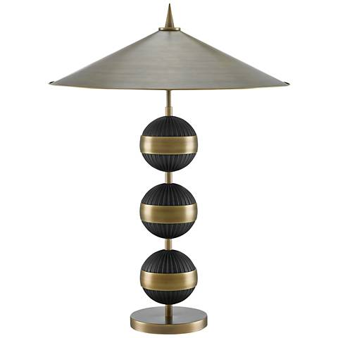 Currey and Company Tamboo Antique Brass and Black Table Lamp