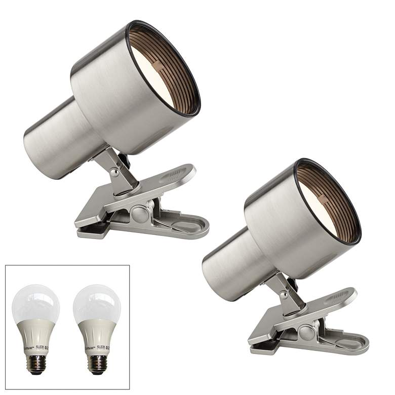 "Satin Nickel 6"" High LED Mini Accent Clip Light Set of 2"