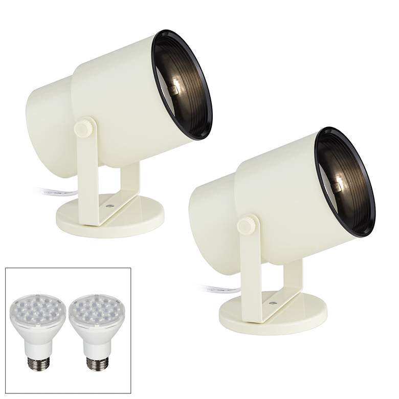 "Pro Track Almond White 8"" High LED Accent Uplight Set of 2"