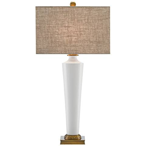 Currey and Company Netta White and Antique Brass Table Lamp