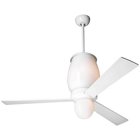 "52"" Modern Fan Lumina Gloss White LED Ceiling Fan"