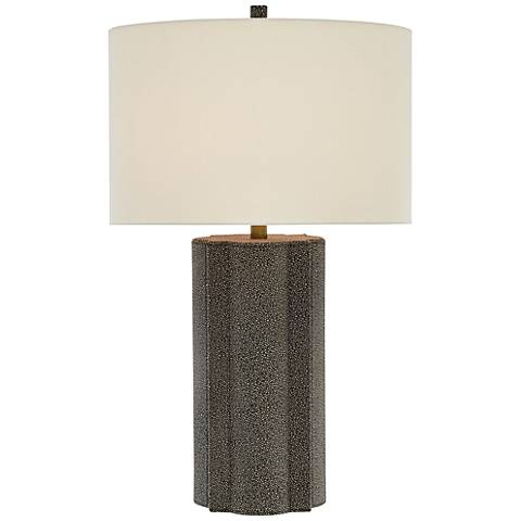 Currey and Company Bets Brown Shagreen Leather Table Lamp