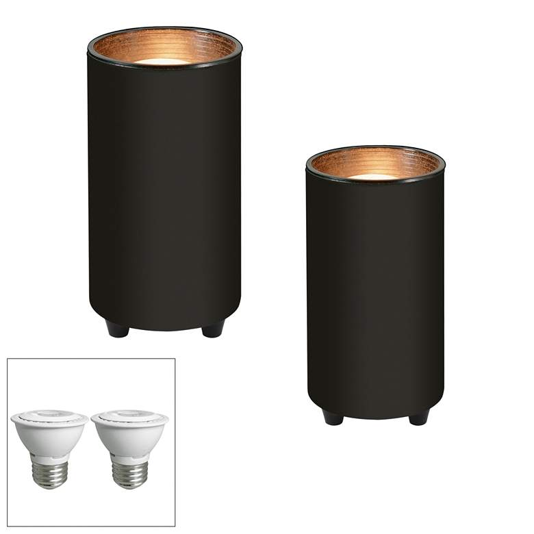"Black 6 1/2"" High LED Mini Can Accent Spot Light Set of 2"