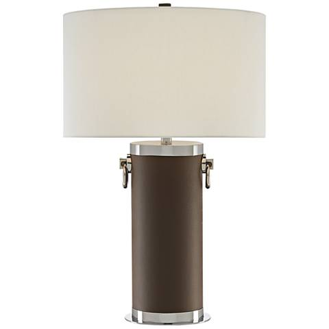 Currey and Company Fulton Fossil Gray Leather Table Lamp