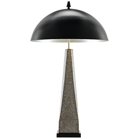 Kole Polished Concrete with Abalone Shells Table Lamp