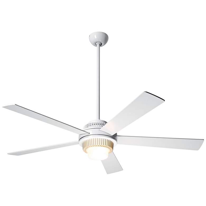 """52"""" Modern Fan Solus Gloss White LED Ceiling"""
