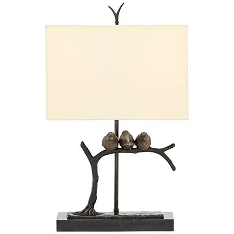 Currey and Company Sparrow Bronze and Black Table Lamp