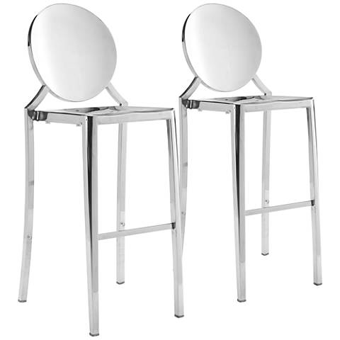 "Zuo Eclipse 30"" Stainless Steel Bar Chairs Set of 2"