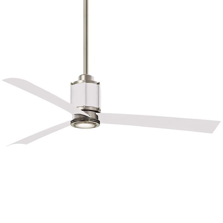 """54"""" Minka Aire Gear Brushed Steel/Flat White LED Ceiling Fan"""