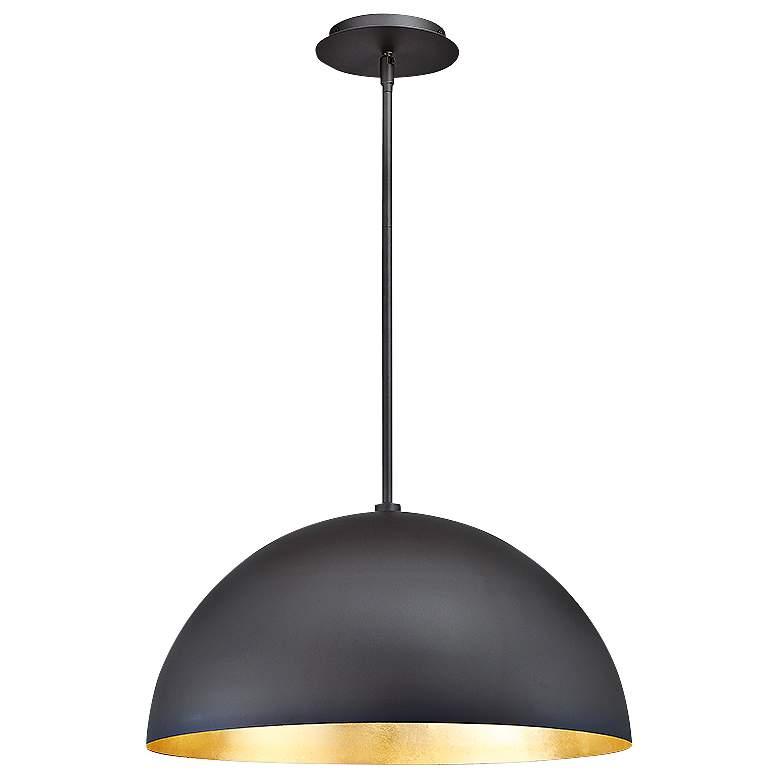 "Yolo 18""W Dark Bronze and Gold Leaf LED Pendant Light"