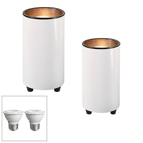 "White 6 1/2"" High LED Mini Can Accent Spot Light Set of 2"