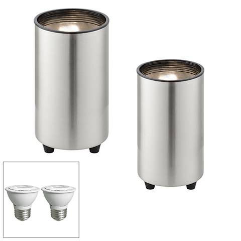 """Steel 6 1/2"""" High LED Mini Can Accent Spot Light Set of 2"""