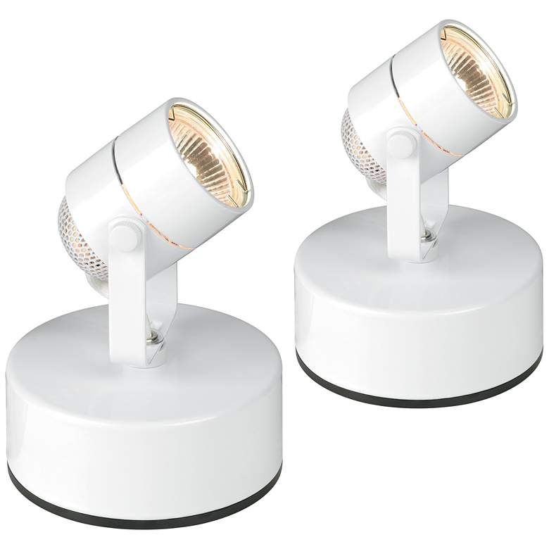 "Pro Track White 6 3/4"" High Mini Accent Uplight Set of 2"