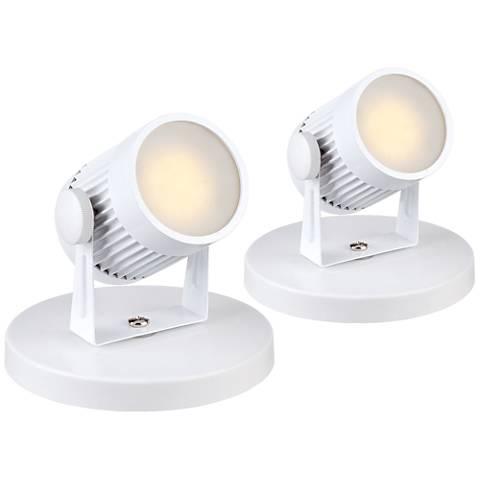 """Downey 2 3/4"""" High White LED Mini-Uplight Set of Two"""