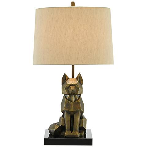 Currey and Company Renard Vintage Brass Accent Table Lamp