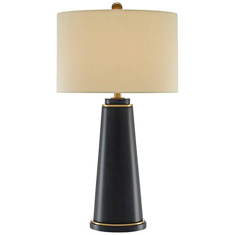Currey and Company Deck Navy Lacquered Linen Table Lamp