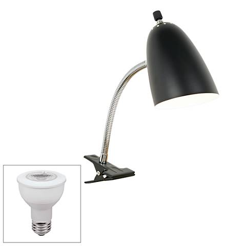 Black Gooseneck Headboard LED Clip Lamp