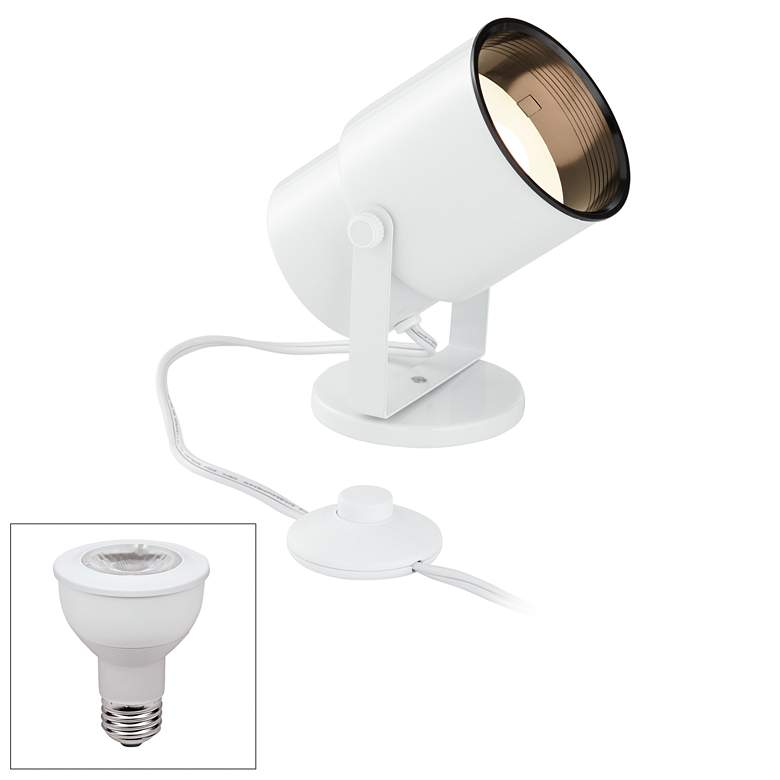 Cord-n-Plug White Accent Uplight with Foot Switch