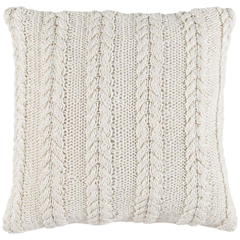 "Purl Ivory 22"" Square Throw Pillow"
