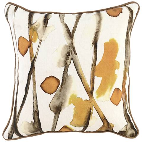 "Sundew Ochre Natural 18"" Square Throw Pillow"