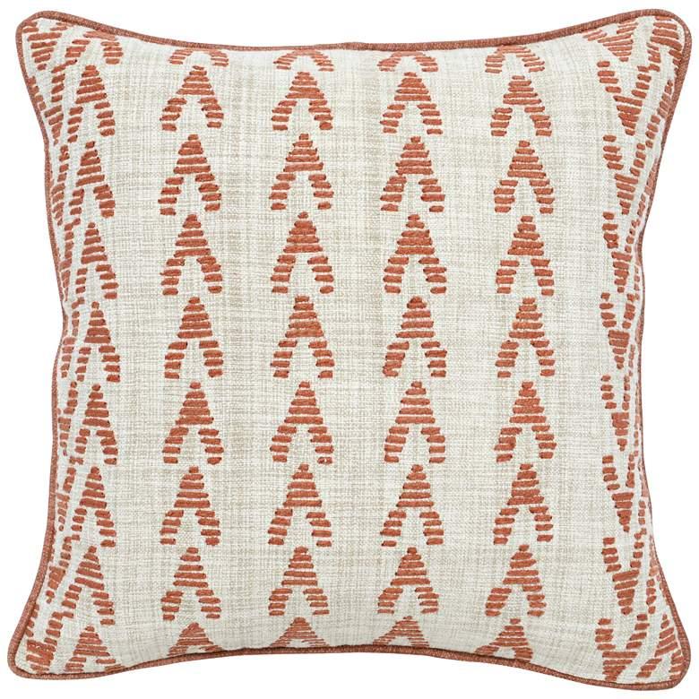 "August Terracotta Orange 22"" Square Throw Pillow"