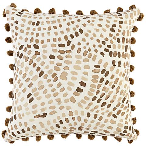 """Odessa Sepia Brown and Ivory 22"""" Square Throw Pillow"""