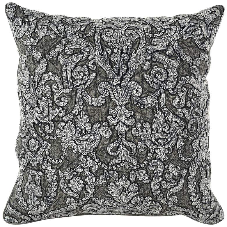 """Empress Charcoal 22"""" Square Throw Pillow"""