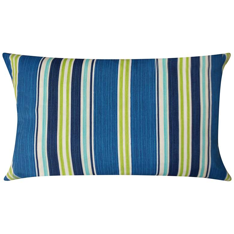 "Admiral Navy and Green Striped 20"" x 14"""