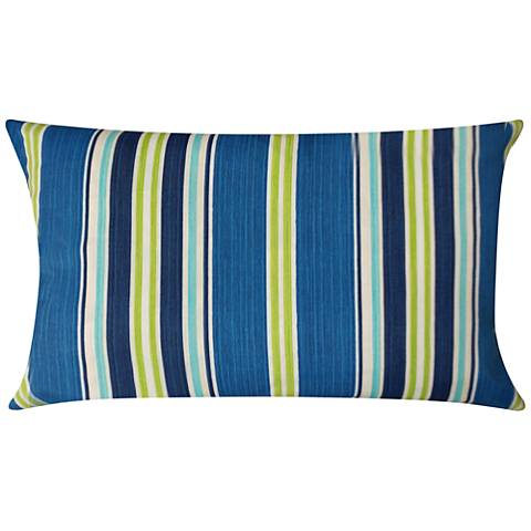 Admiral Navy And Green Striped 20 X 14 Outdoor Pillow 43x63