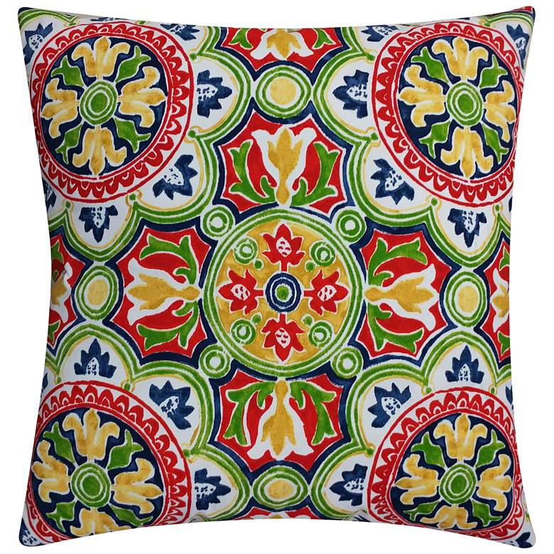 "Capri Multi-Color 20"" Square Outdoor Throw Pillow"