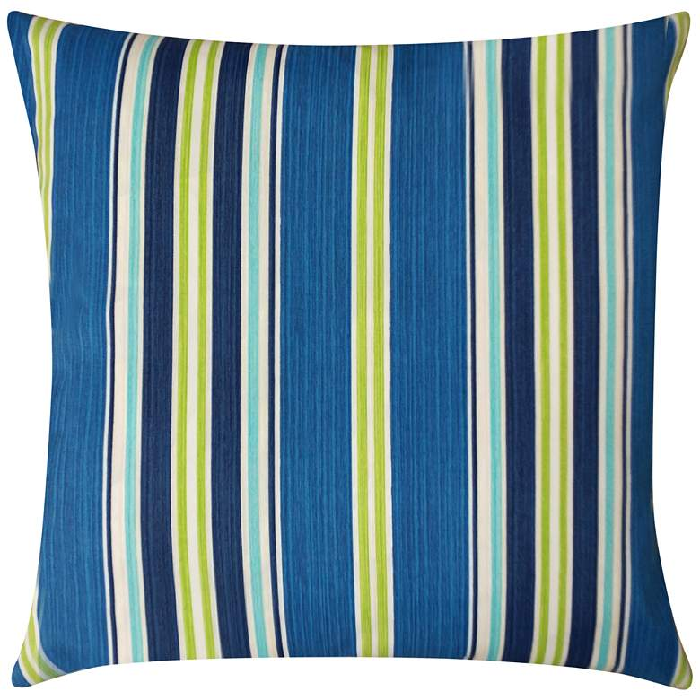 """Admiral Navy and Green Striped 20"""" Square Outdoor Pillow"""