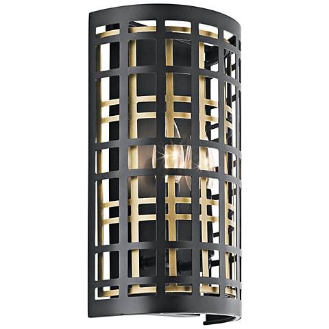 "Kichler Aldergate 12"" High Black 2-Light Wall Sconce"