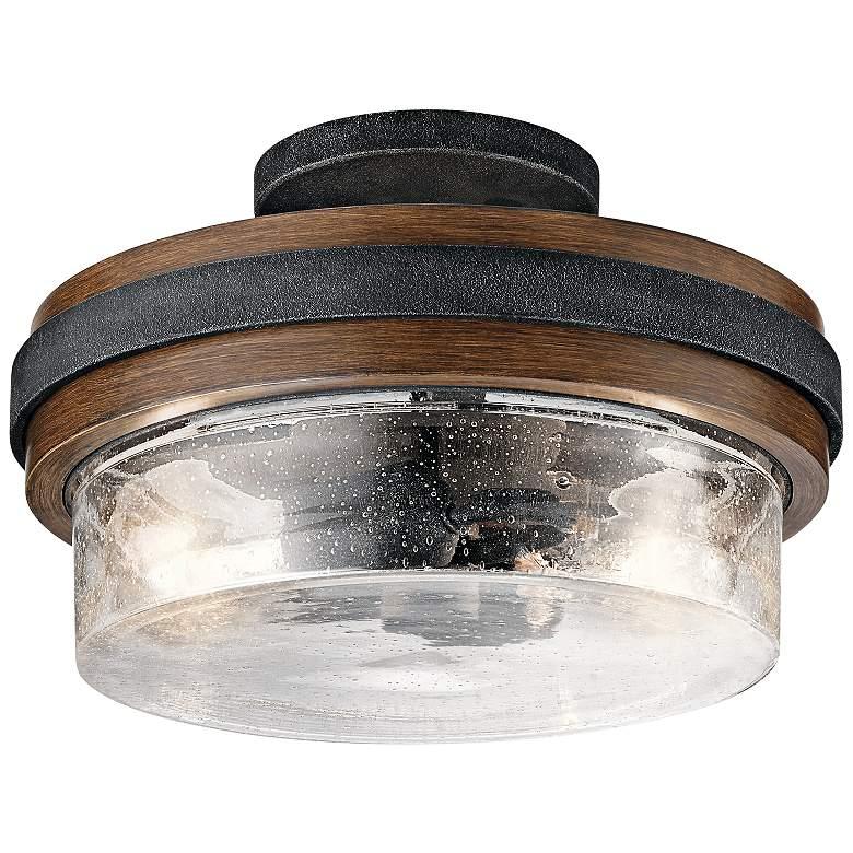 """Kichler Grand Bank 12""""W Auburn Stained 2-Light Ceiling Light"""