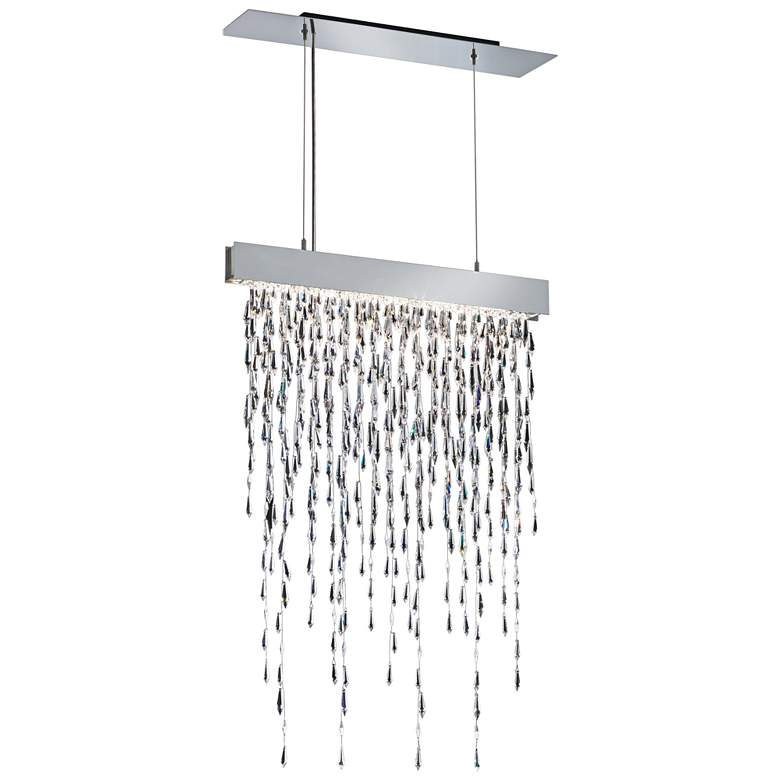 "Crystalline Icicles 27"" Wide Stainless Steel Island Pendant"