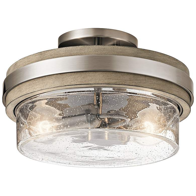 "Kichler Grand Bank 12""W Classic Pewter 2-Light Ceiling Light"