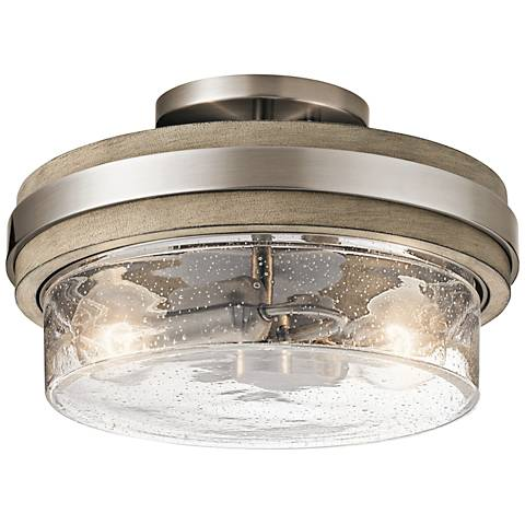 "Kichler Grand Bank 12""W Classic Pewter 2-Light Ceiling Light"