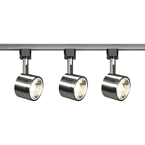Satco Yamato 3-Light Brushed Nickel Round Head LED Track Kit