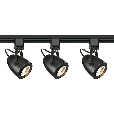 Satco Lyons 3-Light Black Pinch Back LED Track Kit
