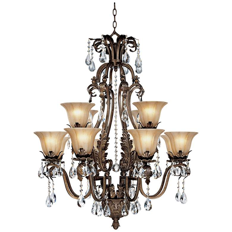 """Iron Leaf 34"""" Wide Bronze and Crystal 12-Light Chandelier"""