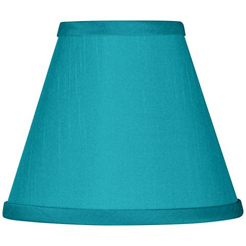 Teal Blue Faux Silk Set of Four Shades 3x6x4 3/4 (Clip-On)