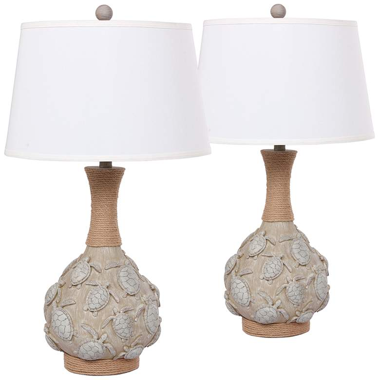 Antigua Sand Turtle Table Lamps Set of 2