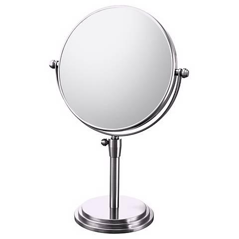 "Chrome Adjustable Vanity 7 3/4"" Wide Stand Mirror"