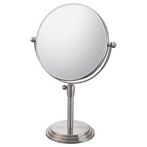 """Brushed Nickel Adjustable Vanity Stand 7 3/4"""" Wide Mirror"""
