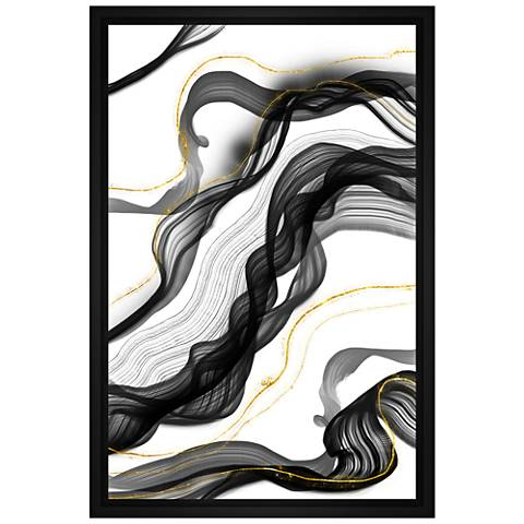 "Gray Ribbon 31 3/4"" High Framed Canvas Wall Art"