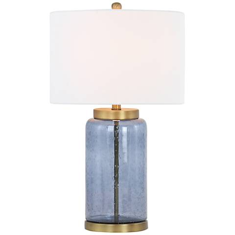 Acton Blue Glass and Antique Gold Table Lamp