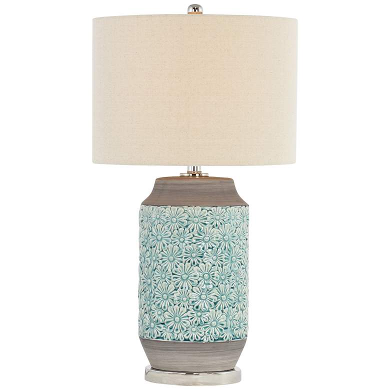 Lunette Blue-Green and Gray Ceramic Table Lamp