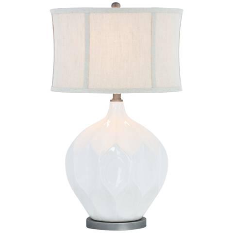Jasmine Glazed White Ivory Ceramic Table Lamp