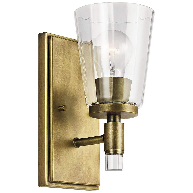"""Kichler Audrea 10"""" High Natural Brass Wall Sconce"""