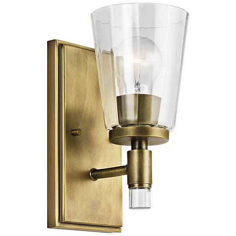 "Kichler Audrea 10"" High Natural Brass Wall Sconce"